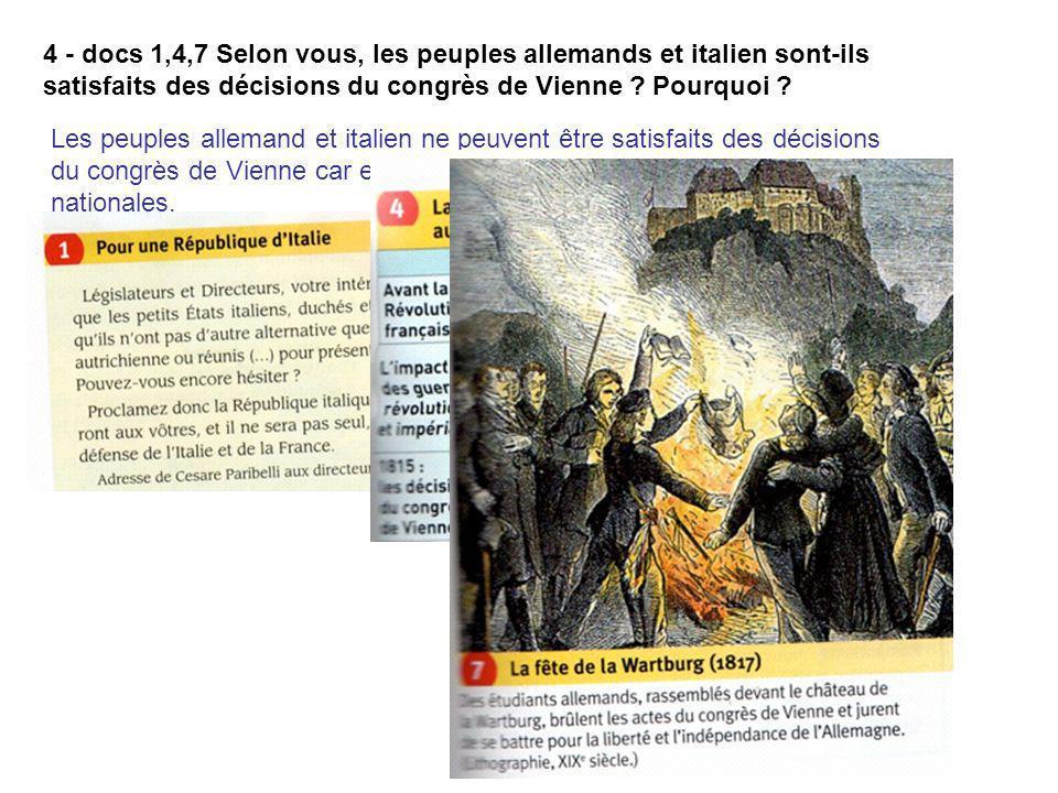 4 - docs 1,4,7 Selon vous, les peuples allemands et italien sont-ils satisfaits des décisions du congrès de Vienne ? Pourquoi ? Les peuples allemand e