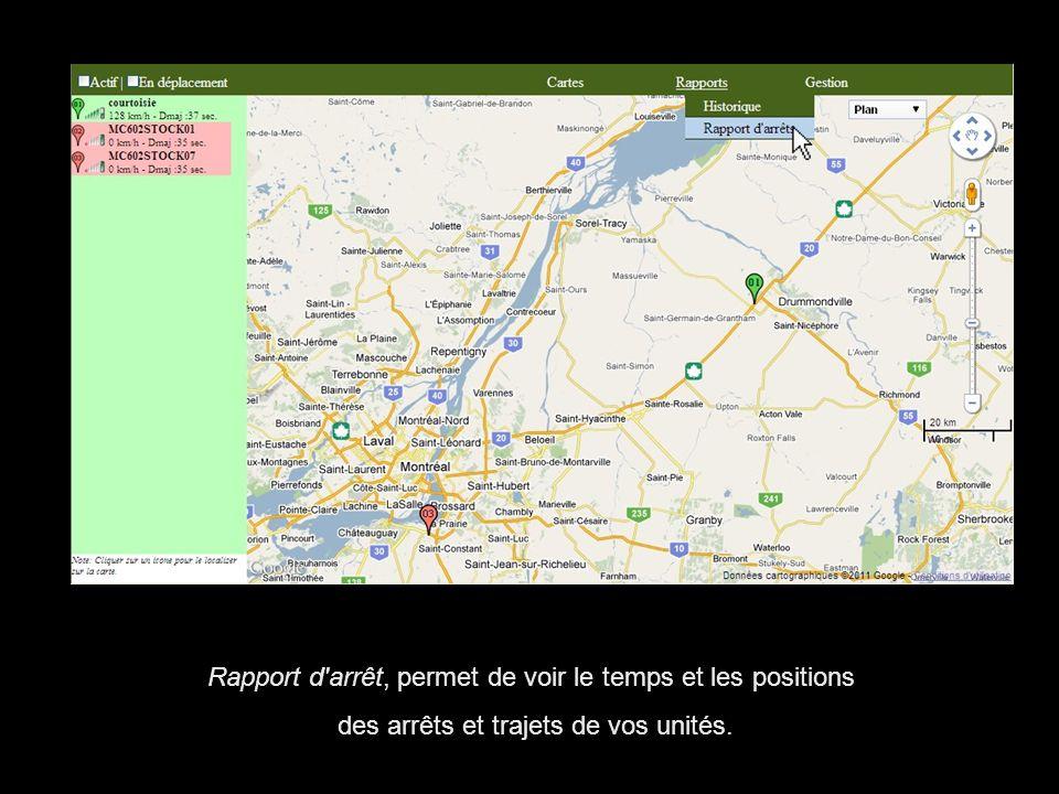Rapport d'arrêt, permet de voir le temps et les positions des arrêts et trajets de vos unités.