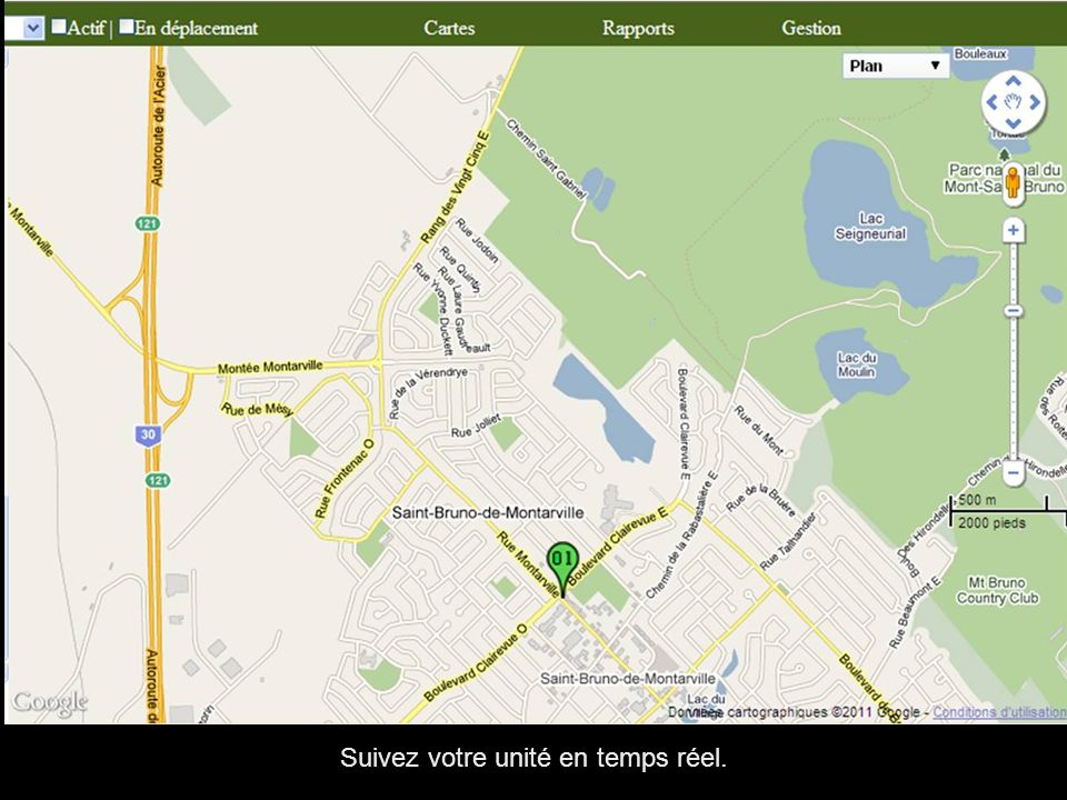 Rapport d arrêt, permet de voir le temps et les positions des arrêts et trajets de vos unités.