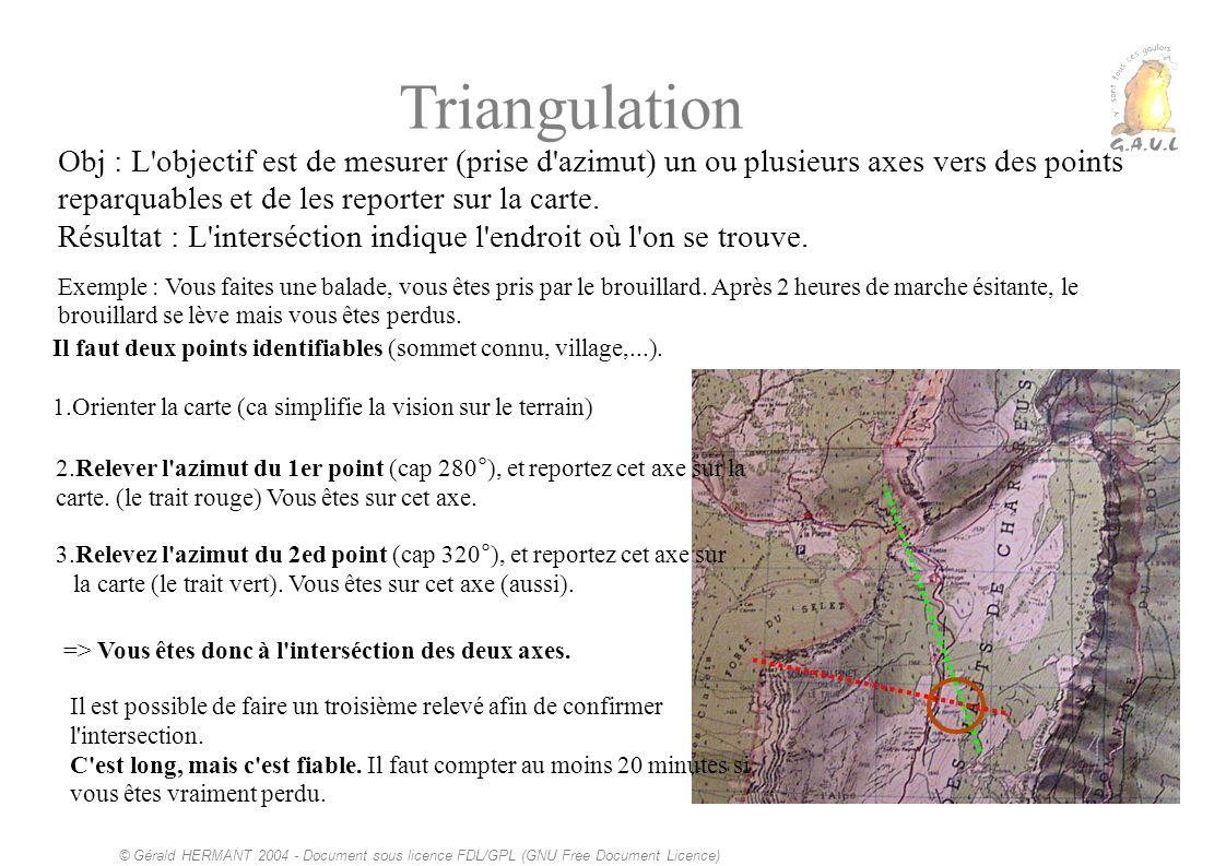 © Gérald HERMANT 2004 - Document sous licence FDL/GPL (GNU Free Document Licence) Triangulation Obj : L'objectif est de mesurer (prise d'azimut) un ou