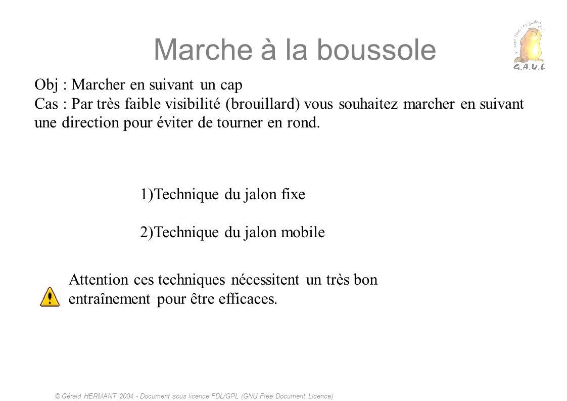 © Gérald HERMANT 2004 - Document sous licence FDL/GPL (GNU Free Document Licence) Marche à la boussole Obj : Marcher en suivant un cap Cas : Par très