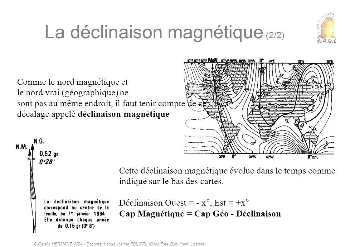 © Gérald HERMANT 2004 - Document sous licence FDL/GPL (GNU Free Document Licence) La déclinaison magnétique (2/2) Comme le nord magnétique et le nord