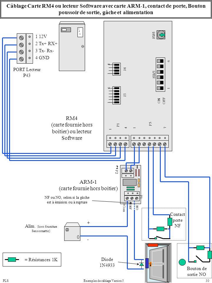 PLSExemples de câblage Version 530 P2 P1 P5P1 ON OFF 1 6 SW1 SW3 J3 J4 1 1 4 6 1 1 74 1 NO 2 NF 3 Com A P C 4 GND 1 12V 3 Tx- Rx- PORT Lecteur P43 2 T