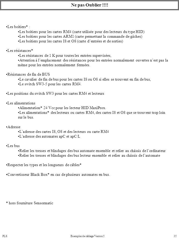 PLSExemples de câblage Version 535 Ne pas Oublier !!!! Les boîtiers* : Les boîtiers pour les cartes RM4 (carte utilisée pour des lecteurs du type HID)