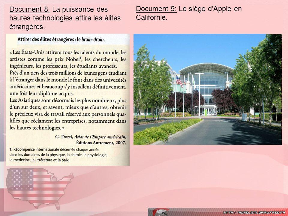 Document 8: La puissance des hautes technologies attire les élites étrangères. Document 9: Le siège dApple en Californie.