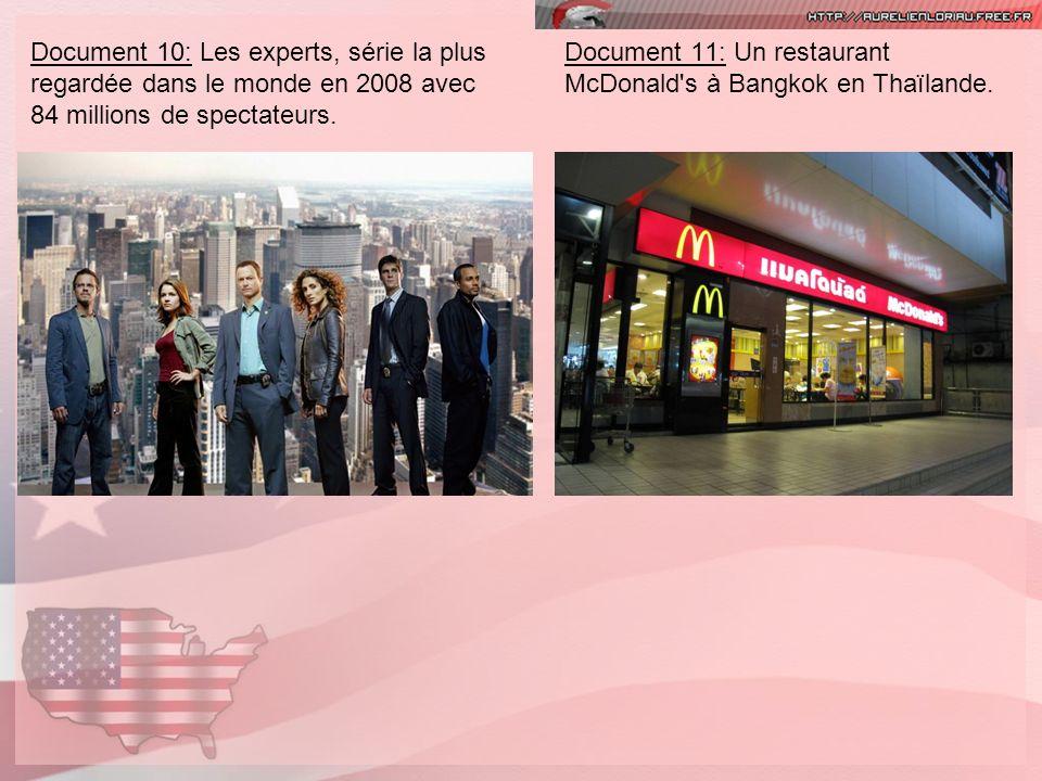 Document 10: Les experts, série la plus regardée dans le monde en 2008 avec 84 millions de spectateurs. Document 11: Un restaurant McDonald's à Bangko