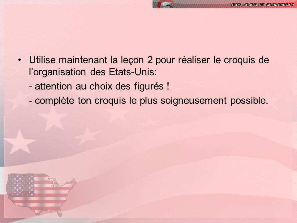 Utilise maintenant la leçon 2 pour réaliser le croquis de lorganisation des Etats-Unis: - attention au choix des figurés ! - complète ton croquis le p