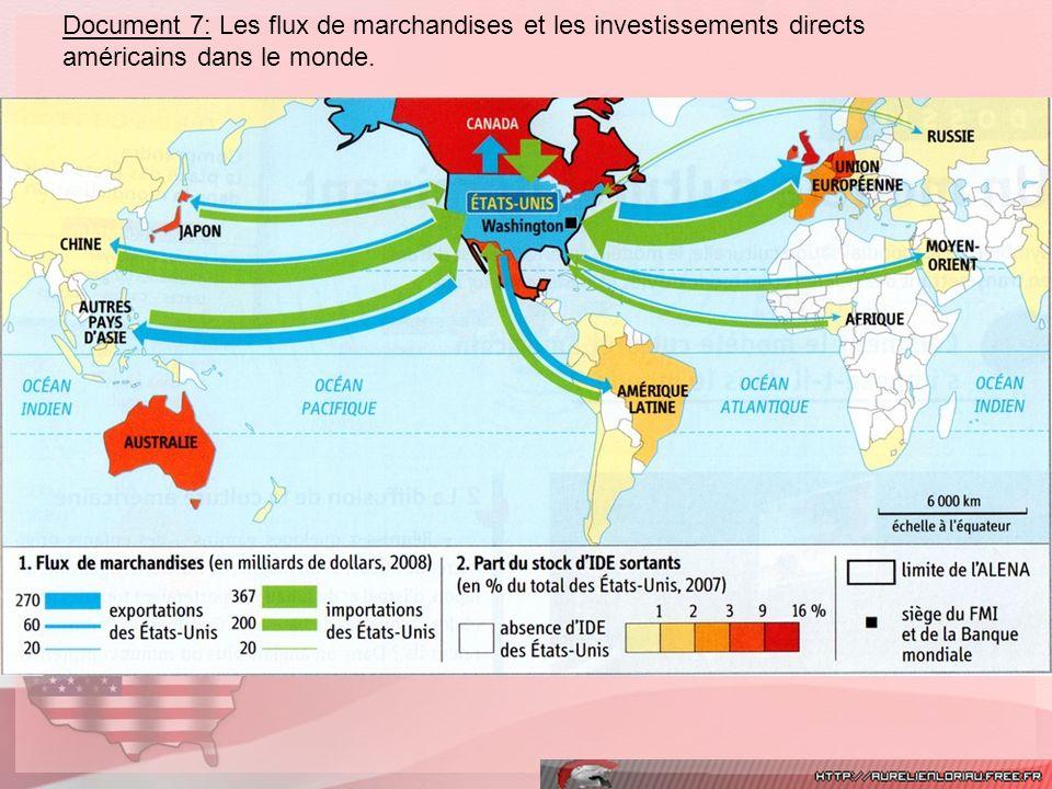 Document 7: Les flux de marchandises et les investissements directs américains dans le monde.