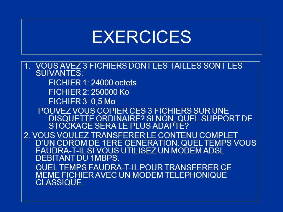 EXERCICES 1.VOUS AVEZ 3 FICHIERS DONT LES TAILLES SONT LES SUIVANTES: FICHIER 1: 24000 octets FICHIER 2: 250000 Ko FICHIER 3: 0,5 Mo POUVEZ VOUS COPIE