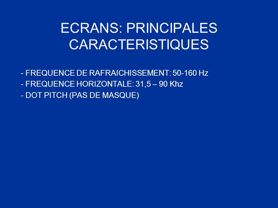 ECRANS: PRINCIPALES CARACTERISTIQUES - FREQUENCE DE RAFRAICHISSEMENT: 50-160 Hz - FREQUENCE HORIZONTALE: 31,5 – 90 Khz - DOT PITCH (PAS DE MASQUE)