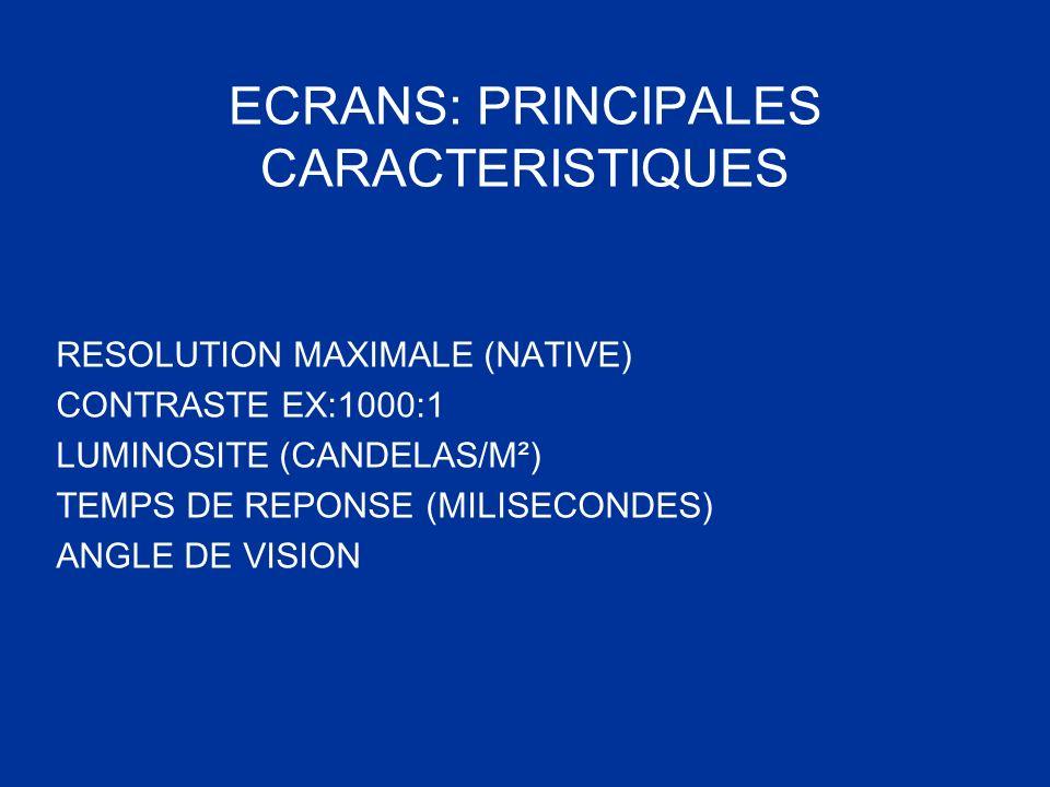 ECRANS: PRINCIPALES CARACTERISTIQUES RESOLUTION MAXIMALE (NATIVE) CONTRASTE EX:1000:1 LUMINOSITE (CANDELAS/M²) TEMPS DE REPONSE (MILISECONDES) ANGLE D