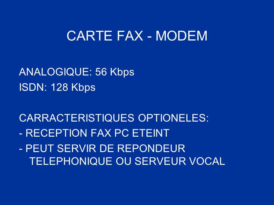 CARTE FAX - MODEM ANALOGIQUE: 56 Kbps ISDN: 128 Kbps CARRACTERISTIQUES OPTIONELES: - RECEPTION FAX PC ETEINT - PEUT SERVIR DE REPONDEUR TELEPHONIQUE O