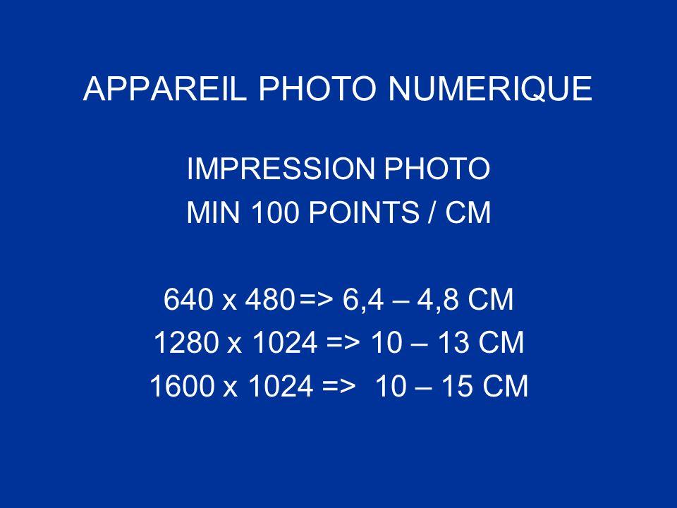 APPAREIL PHOTO NUMERIQUE IMPRESSION PHOTO MIN 100 POINTS / CM 640 x 480=> 6,4 – 4,8 CM 1280 x 1024 => 10 – 13 CM 1600 x 1024 => 10 – 15 CM