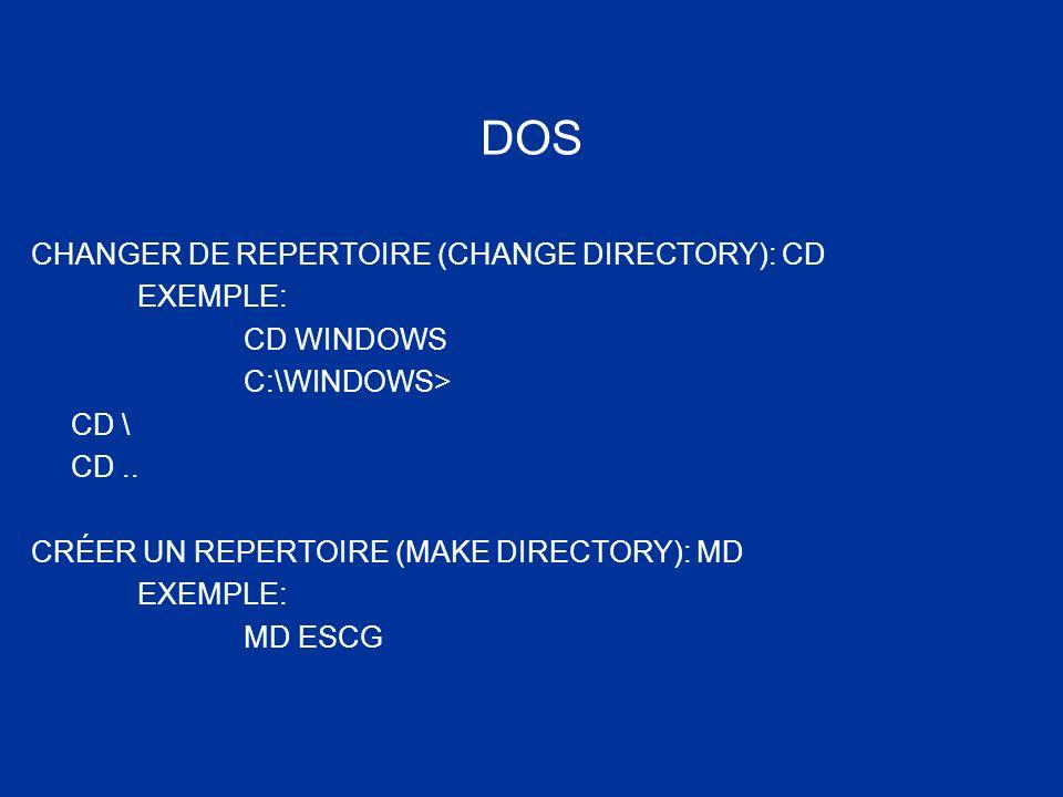 DOS CHANGER DE REPERTOIRE (CHANGE DIRECTORY): CD EXEMPLE: CD WINDOWS C:\WINDOWS> CD \ CD.. CRÉER UN REPERTOIRE (MAKE DIRECTORY): MD EXEMPLE: MD ESCG