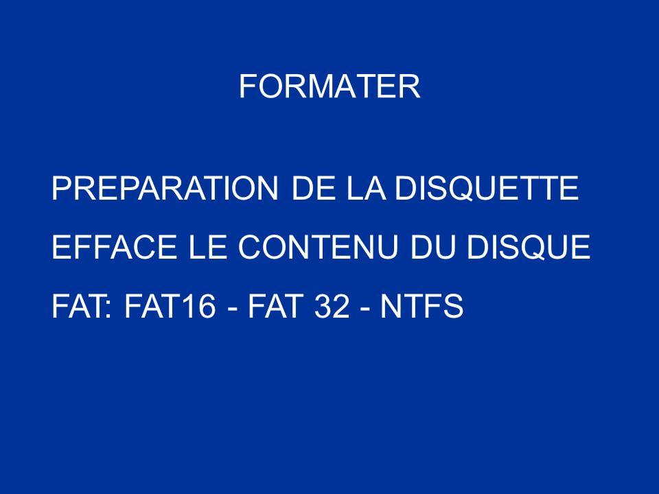 FORMATER PREPARATION DE LA DISQUETTE EFFACE LE CONTENU DU DISQUE FAT: FAT16 - FAT 32 - NTFS