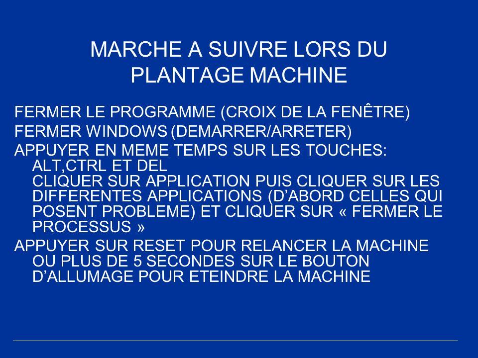 MARCHE A SUIVRE LORS DU PLANTAGE MACHINE FERMER LE PROGRAMME (CROIX DE LA FENÊTRE) FERMER WINDOWS (DEMARRER/ARRETER) APPUYER EN MEME TEMPS SUR LES TOU