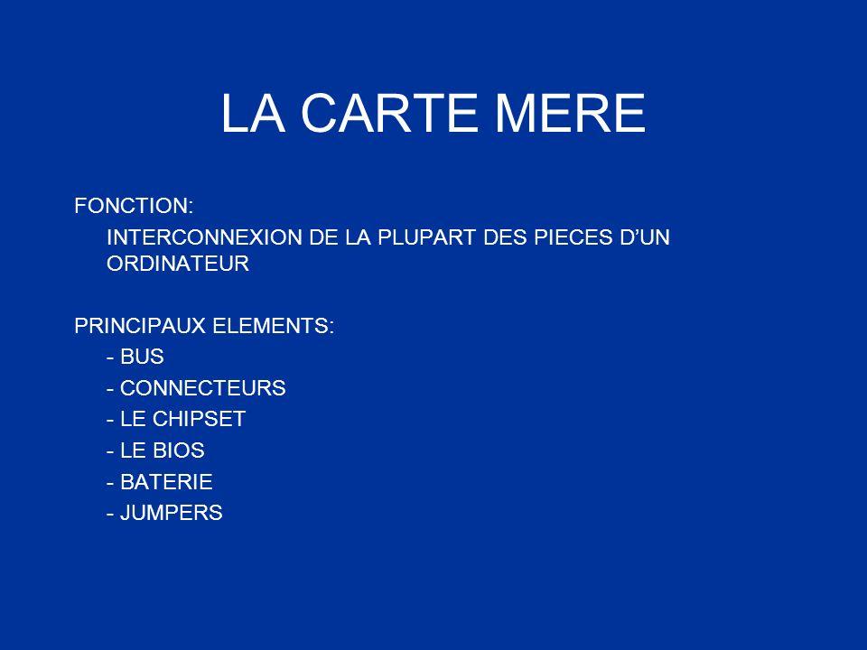 LA CARTE MERE FONCTION: INTERCONNEXION DE LA PLUPART DES PIECES DUN ORDINATEUR PRINCIPAUX ELEMENTS: - BUS - CONNECTEURS - LE CHIPSET - LE BIOS - BATER