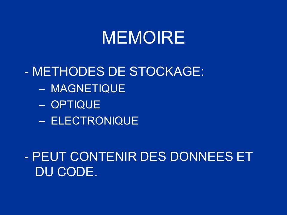 MEMOIRE - METHODES DE STOCKAGE: – MAGNETIQUE – OPTIQUE – ELECTRONIQUE - PEUT CONTENIR DES DONNEES ET DU CODE.