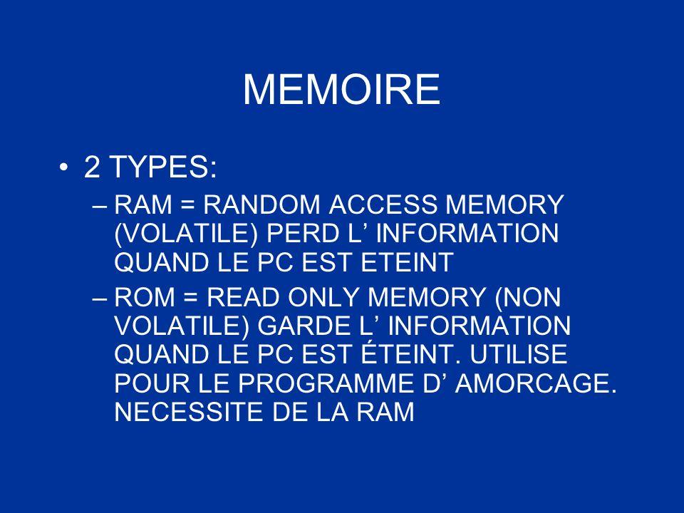 MEMOIRE 2 TYPES: –RAM = RANDOM ACCESS MEMORY (VOLATILE) PERD L INFORMATION QUAND LE PC EST ETEINT –ROM = READ ONLY MEMORY (NON VOLATILE) GARDE L INFOR