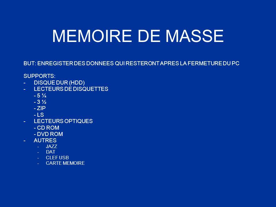 MEMOIRE DE MASSE BUT: ENREGISTER DES DONNEES QUI RESTERONT APRES LA FERMETURE DU PC SUPPORTS: -DISQUE DUR (HDD) -LECTEURS DE DISQUETTES - 5 ¼ - 3 ½ -