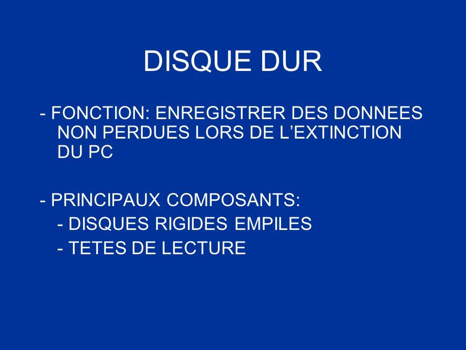 DISQUE DUR - FONCTION: ENREGISTRER DES DONNEES NON PERDUES LORS DE LEXTINCTION DU PC - PRINCIPAUX COMPOSANTS: - DISQUES RIGIDES EMPILES - TETES DE LEC