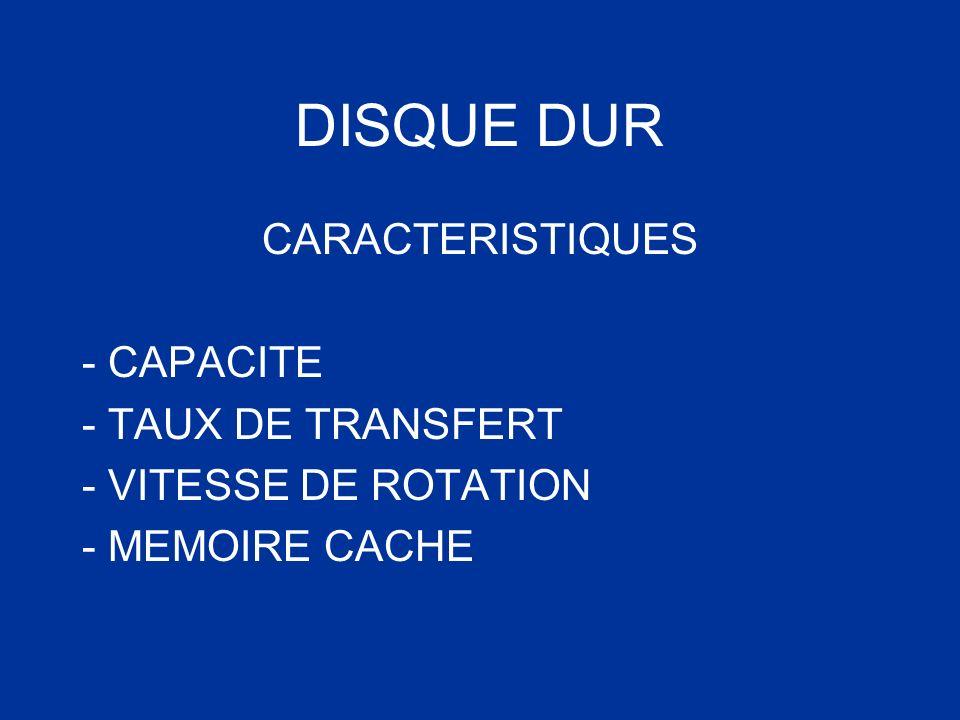 CARACTERISTIQUES - CAPACITE - TAUX DE TRANSFERT - VITESSE DE ROTATION - MEMOIRE CACHE