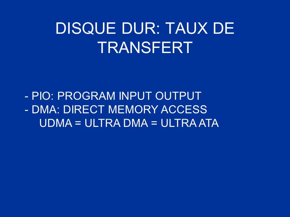 DISQUE DUR: TAUX DE TRANSFERT - PIO: PROGRAM INPUT OUTPUT - DMA: DIRECT MEMORY ACCESS UDMA = ULTRA DMA = ULTRA ATA