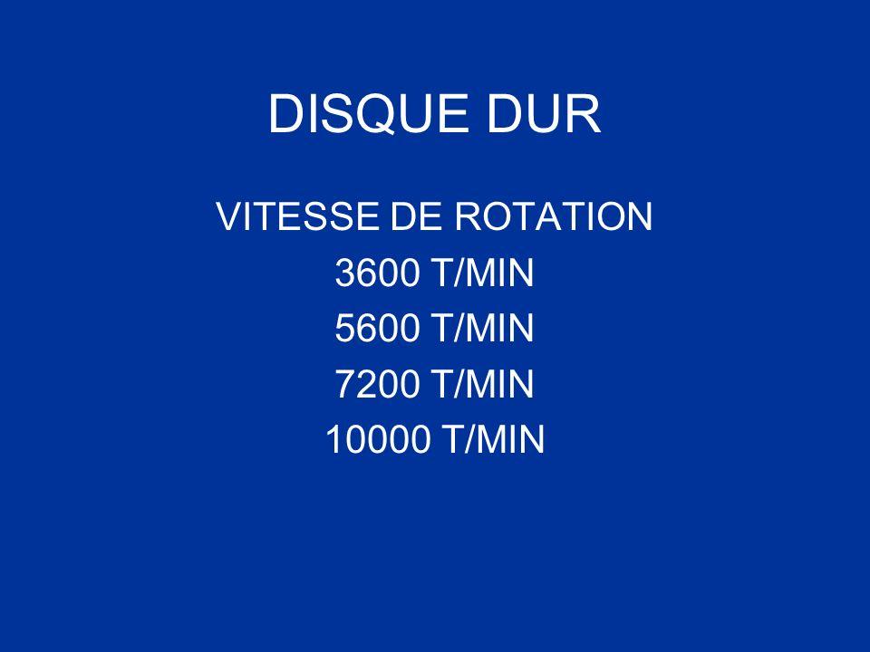 DISQUE DUR VITESSE DE ROTATION 3600 T/MIN 5600 T/MIN 7200 T/MIN 10000 T/MIN