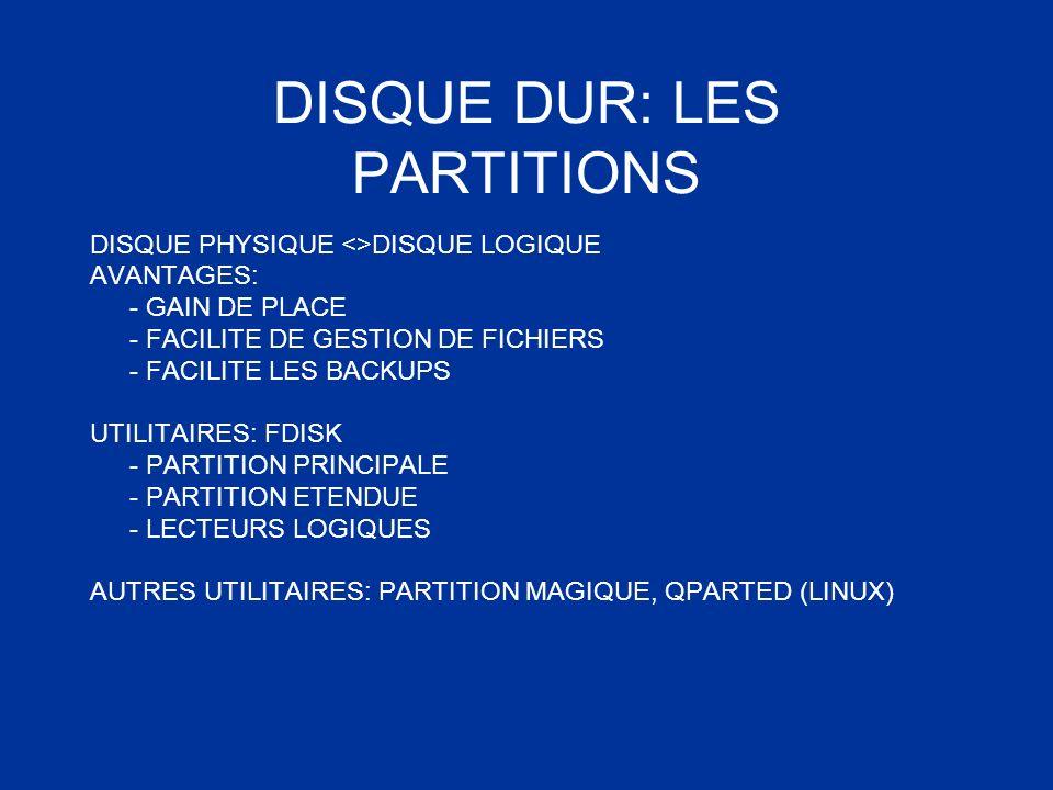 DISQUE DUR: LES PARTITIONS DISQUE PHYSIQUE <>DISQUE LOGIQUE AVANTAGES: - GAIN DE PLACE - FACILITE DE GESTION DE FICHIERS - FACILITE LES BACKUPS UTILIT
