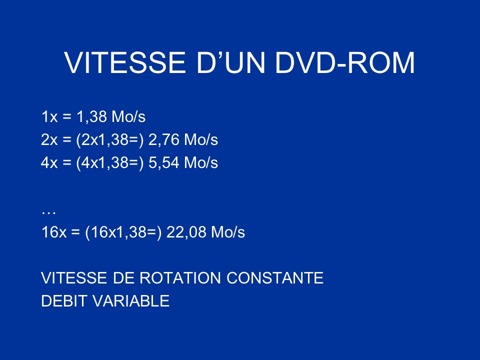 VITESSE DUN DVD-ROM 1x = 1,38 Mo/s 2x = (2x1,38=) 2,76 Mo/s 4x = (4x1,38=) 5,54 Mo/s … 16x = (16x1,38=) 22,08 Mo/s VITESSE DE ROTATION CONSTANTE DEBIT