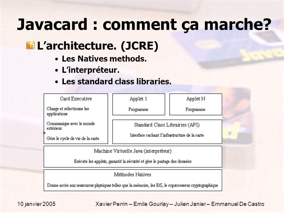 10 janvier 2005Xavier Perrin – Emile Gourlay – Julien Janier – Emmanuel De Castro Javacard : comment ça marche? Larchitecture. (JCRE) Les Natives meth