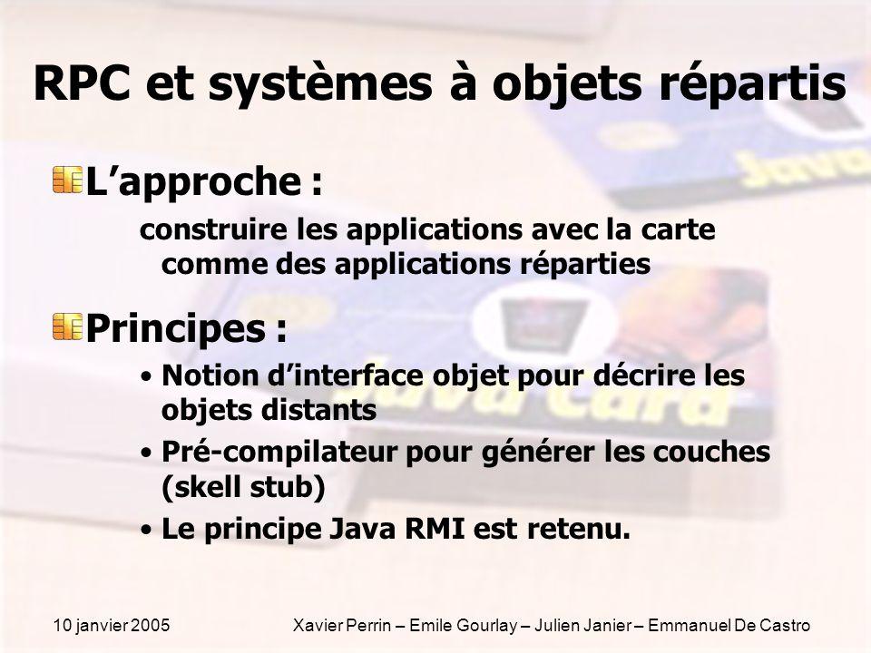 10 janvier 2005Xavier Perrin – Emile Gourlay – Julien Janier – Emmanuel De Castro RPC et systèmes à objets répartis Lapproche : construire les applica