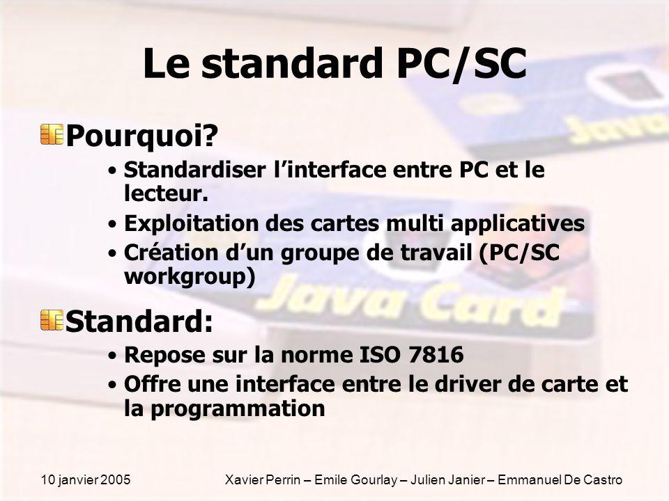 10 janvier 2005Xavier Perrin – Emile Gourlay – Julien Janier – Emmanuel De Castro Le standard PC/SC Pourquoi? Standardiser linterface entre PC et le l