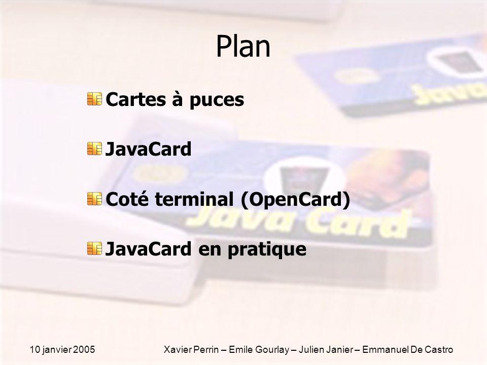 10 janvier 2005Xavier Perrin – Emile Gourlay – Julien Janier – Emmanuel De Castro Plan Cartes à puces JavaCard Coté terminal (OpenCard) JavaCard en pr