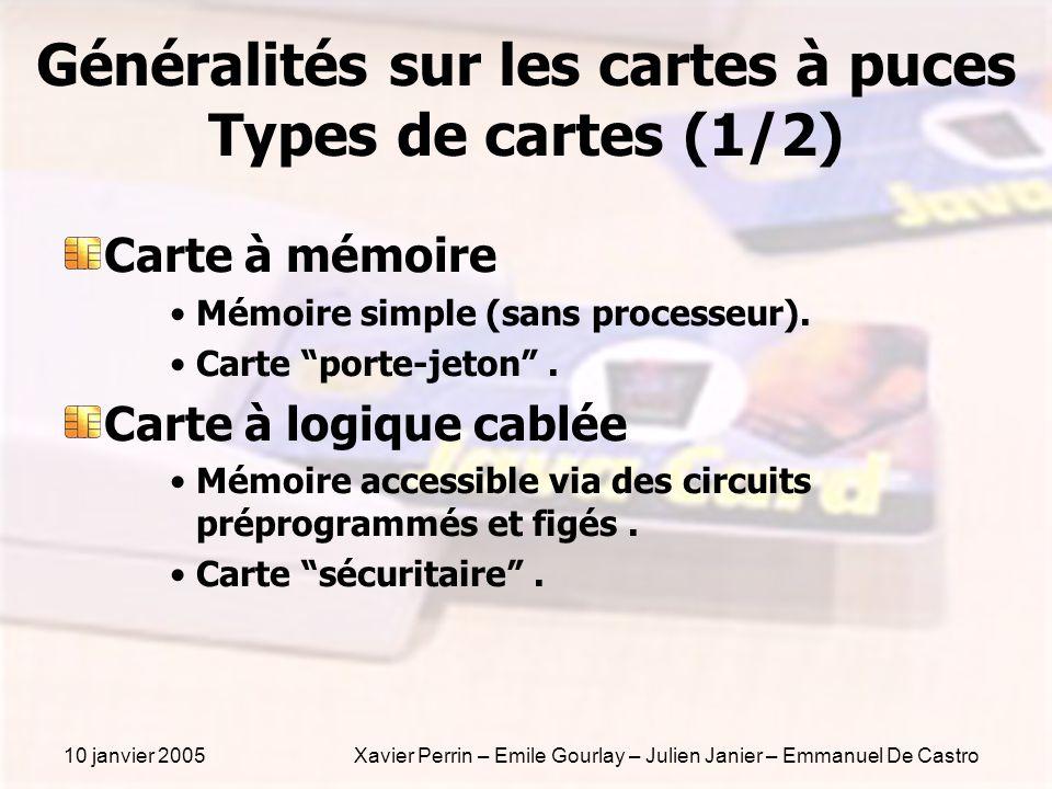 10 janvier 2005Xavier Perrin – Emile Gourlay – Julien Janier – Emmanuel De Castro Généralités sur les cartes à puces Types de cartes (1/2) Carte à mém