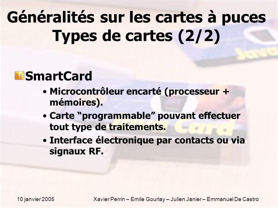 10 janvier 2005Xavier Perrin – Emile Gourlay – Julien Janier – Emmanuel De Castro Généralités sur les cartes à puces Types de cartes (2/2) SmartCard M