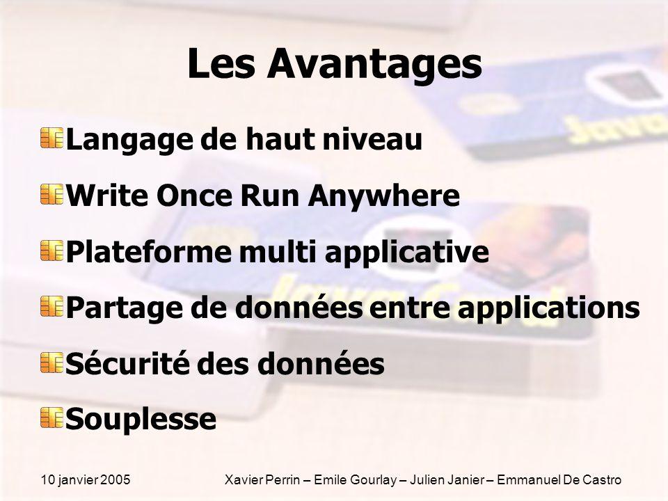 10 janvier 2005Xavier Perrin – Emile Gourlay – Julien Janier – Emmanuel De Castro Les Avantages Langage de haut niveau Write Once Run Anywhere Platefo