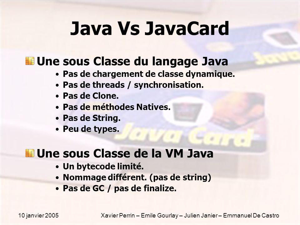 10 janvier 2005Xavier Perrin – Emile Gourlay – Julien Janier – Emmanuel De Castro Java Vs JavaCard Une sous Classe du langage Java Pas de chargement d