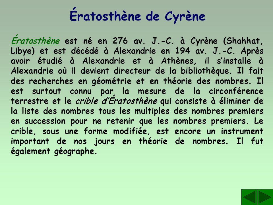 Ératosthène de Cyrène ÉratosthèneÉratosthène est né en 276 av. J.-C. à Cyrène (Shahhat, Libye) et est décédé à Alexandrie en 194 av. J.-C. Après avoir