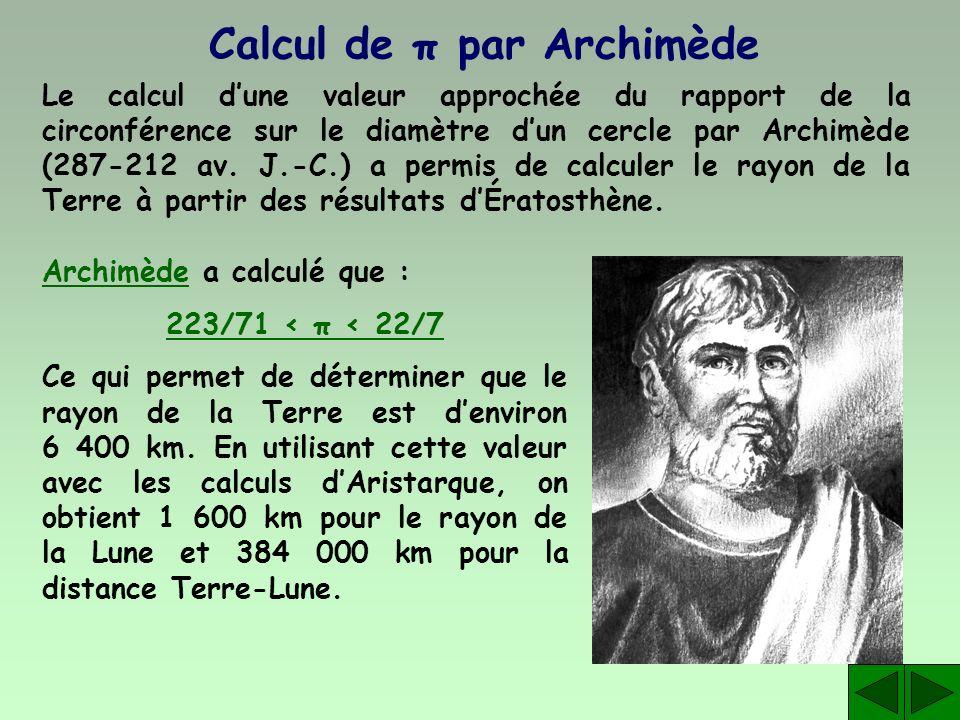 Calcul de π par Archimède Le calcul dune valeur approchée du rapport de la circonférence sur le diamètre dun cercle par Archimède (287-212 av. J.-C.)