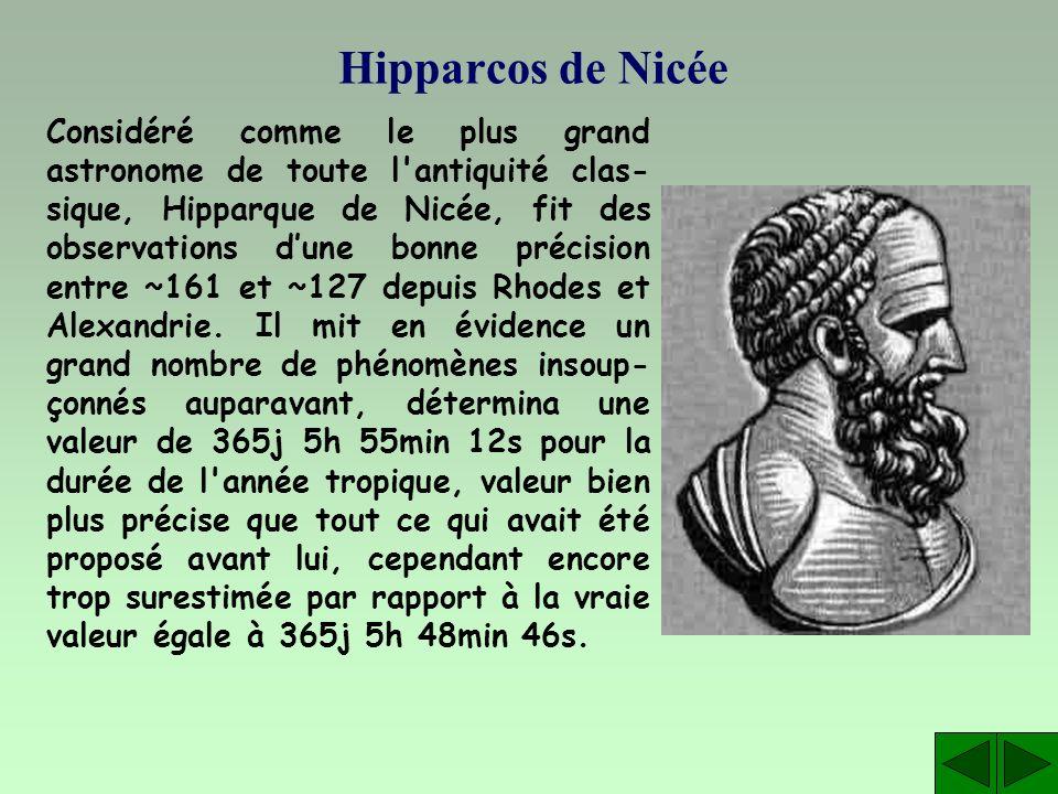 Hipparcos de Nicée Considéré comme le plus grand astronome de toute l'antiquité clas- sique, Hipparque de Nicée, fit des observations dune bonne préci