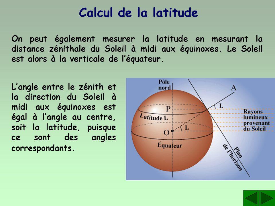 Calcul de la latitude On peut également mesurer la latitude en mesurant la distance zénithale du Soleil à midi aux équinoxes. Le Soleil est alors à la