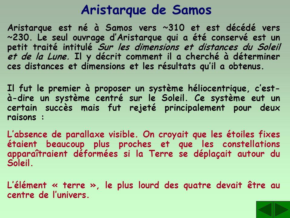 Aristarque de Samos Aristarque est né à Samos vers ~310 et est décédé vers ~230. Le seul ouvrage dAristarque qui a été conservé est un petit traité in