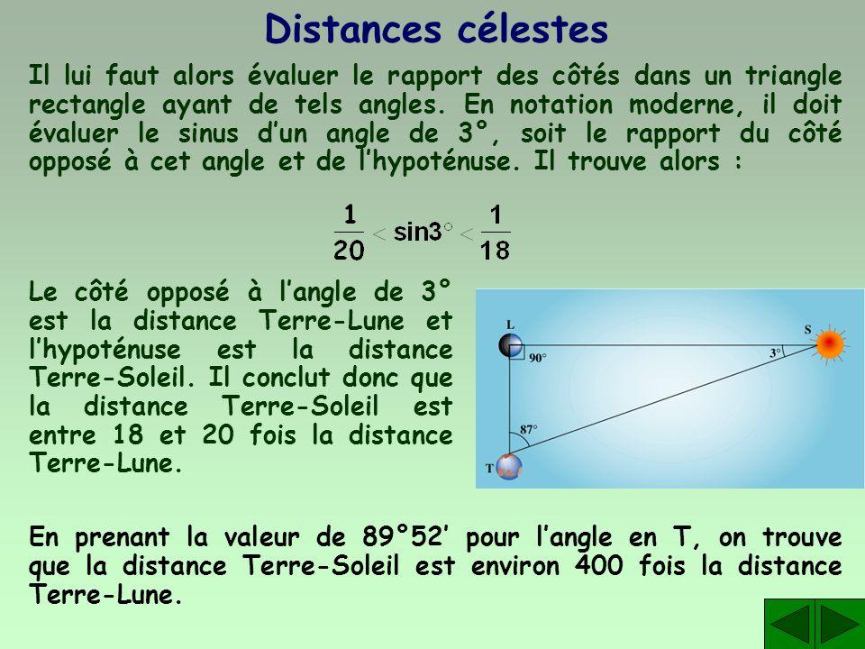 Distances célestes Il lui faut alors évaluer le rapport des côtés dans un triangle rectangle ayant de tels angles. En notation moderne, il doit évalue