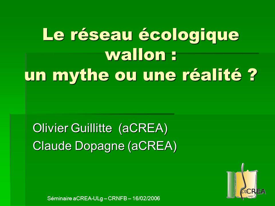 Le réseau écologique wallon : un mythe ou une réalité ? Olivier Guillitte (aCREA) Claude Dopagne (aCREA) Séminaire aCREA-ULg – CRNFB – 16/02/2006