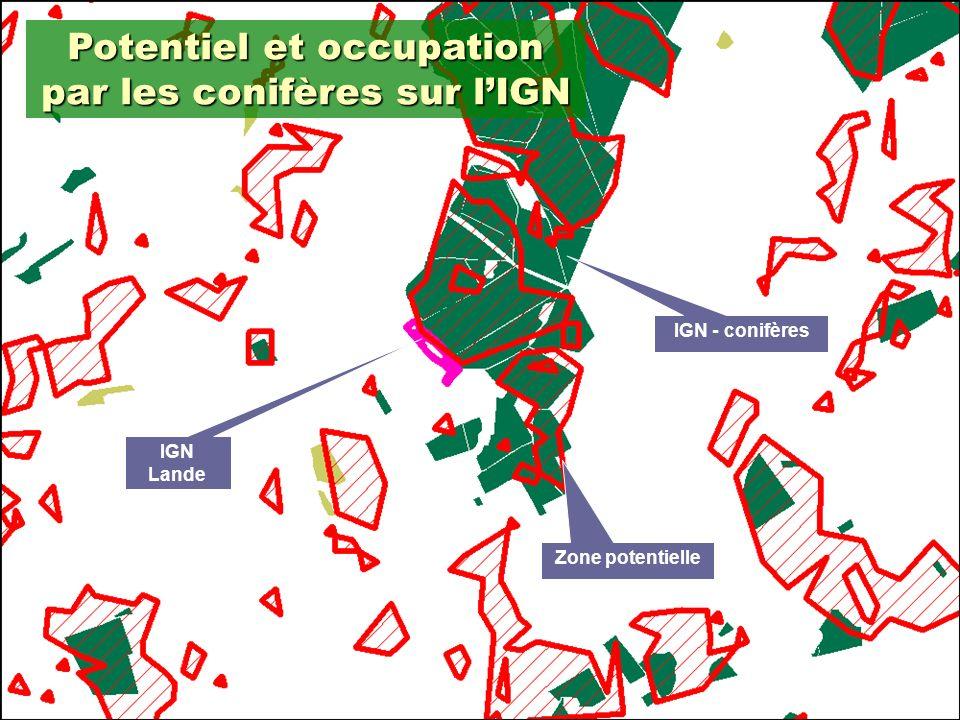17 Potentiel et occupation par les conifères sur lIGN IGN Lande Zone potentielle IGN - conifères