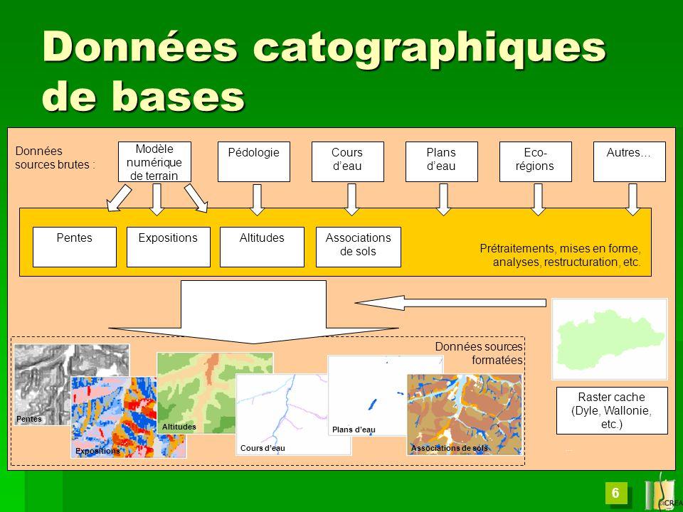 6 Données catographiques de bases Modèle numérique de terrain PédologieCours deau Plans deau Eco- régions Autres… PentesExpositions Altitudes Raster c