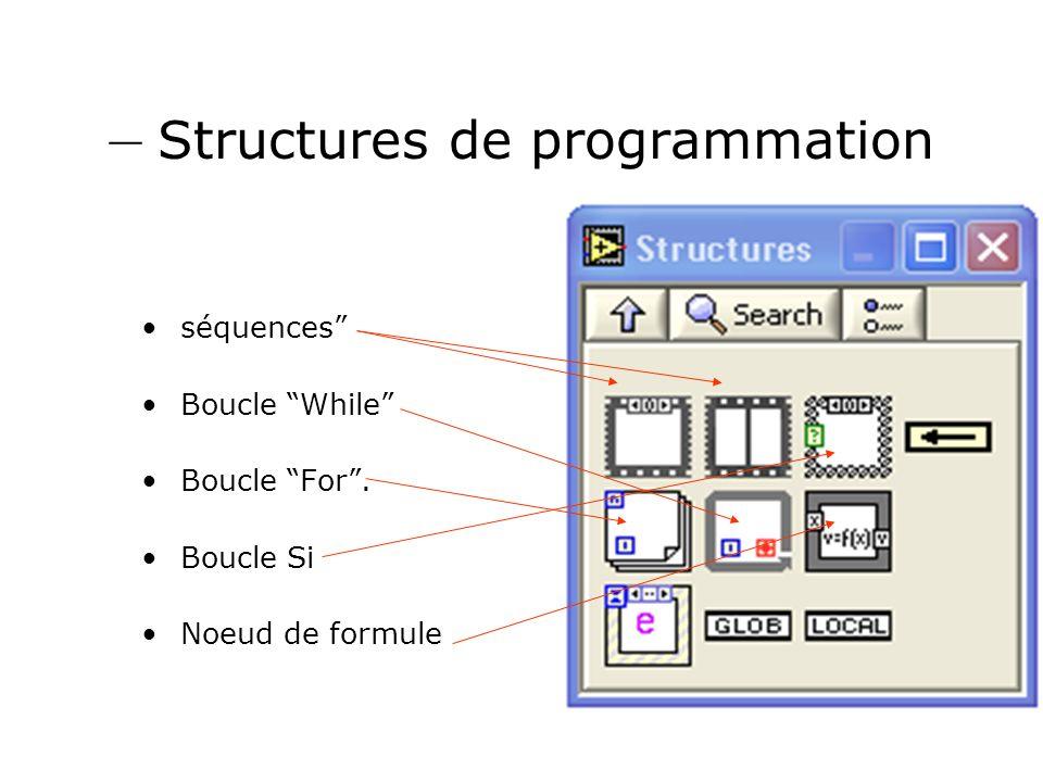 – Structures de programmation séquences Boucle While Boucle For. Boucle Si Noeud de formule