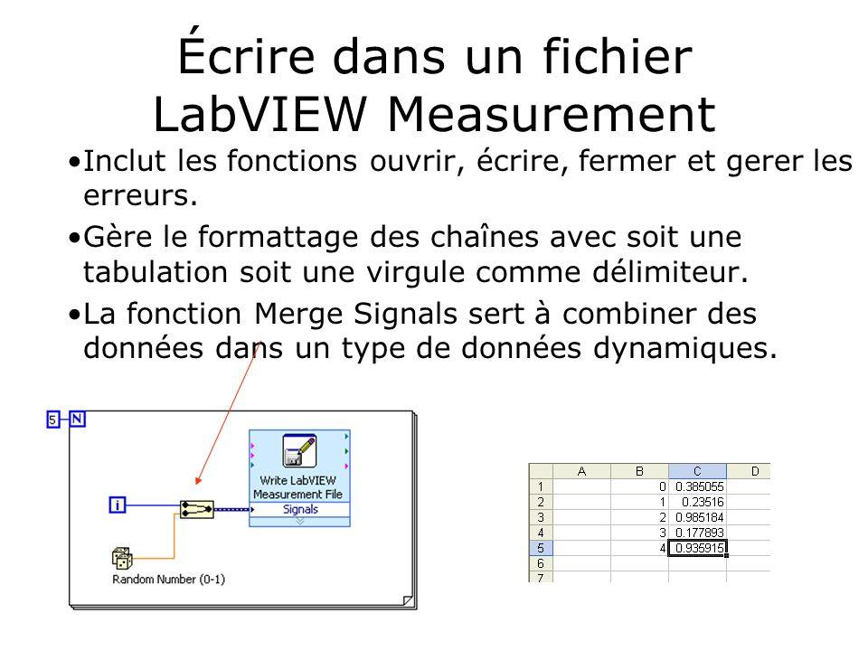 Écrire dans un fichier LabVIEW Measurement Inclut les fonctions ouvrir, écrire, fermer et gerer les erreurs. Gère le formattage des chaînes avec soit