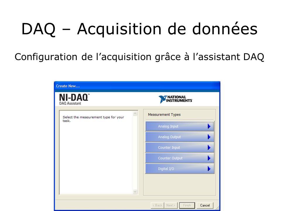 DAQ – Acquisition de données Configuration de lacquisition grâce à lassistant DAQ